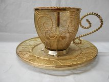 Gold Decorative Tea Cup & Saucer Metal Candle Holder in The Woodlands, Texas