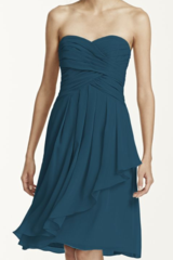 NWT Teal Chiffon Cocktail Dress, Optional strap/strapless in Temecula, California