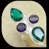 NEW - Unique Design Green Topaz and Amethyst Ring Size 7 1/2 in Alamogordo, New Mexico