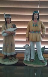 Homoco Ceramic Indian Figurines Sqaw Papoose & Wolf Pup in Conroe, Texas