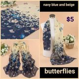 Navy blue & beige Butterfly Scarf in Columbus, Georgia