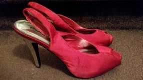 Red Satin Ladies Shoes in Fort Campbell, Kentucky