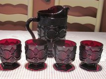 Avon Ruby Red 1876 Cape Cod pattern Pitcher and 4 Glasses in Kingwood, Texas