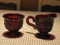 VINTAGE AVON RUBY RED 1876 CAPE COD CREAMER AND SUGAR in Kingwood, Texas