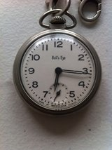 Westclox Bull's Eye American Dollar pocket watch (Working) with chain ! See picture in Ramstein, Germany