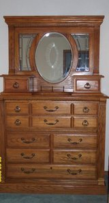 Oak Chest/Mirror/nightstand in Belleville, Illinois