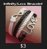 Infinity Love Bracelet in black, white and silver in Fort Benning, Georgia