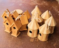 Wooden Birdhouses, Lot of 13. Unfinished, bird houses craft in 29 Palms, California