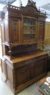 Antique Buffet with Golden Brown Oak and Beveled Glass in Ramstein, Germany
