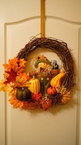 Handmade Fall Autumn Wreath, Halloween Thanksgiving Decor in Fort Bragg, North Carolina