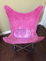 Butterfly Folding Chair Faux Fur Hot Pink with Pillow in Kingwood, Texas