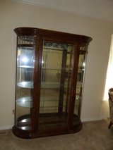 Large Oak curved etched beveled leaded glass  Curio Display cabinet in Alamogordo, New Mexico
