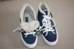 NEW ZARA Navy Blue Suede Shoes With Fringes Size 30/31 Faux Shearling in Glendale Heights, Illinois