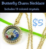 BUTTERFLY CHARM NECKLACE * LOCKET in Fort Benning, Georgia