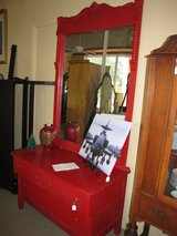 Red Painted Antique dresser with mirror in Moody AFB, Georgia