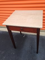 Mahogany Table w/ Drawer Marble Top in Camp Lejeune, North Carolina