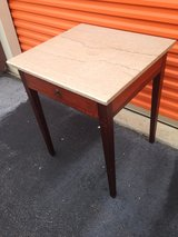 Antique Mahogany Table w/ Drawer Marble Top in Camp Lejeune, North Carolina