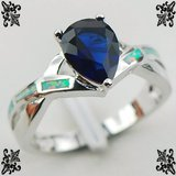 NEW - Pear Shaped Blue Sapphire and Blue Fire Opal Size 7 Ring in Alamogordo, New Mexico