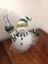 SNOWMAN JELLY JAM HOLDER WITH SERVING BUTTER KNIFE in Camp Lejeune, North Carolina