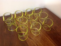 LIKE NEW CLEAR ACRYLIC WITH YELLOW TRIM PLASTIC NAPKIN RING HOLDERS in Camp Lejeune, North Carolina