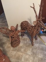 Grape vine woven reindeer (SOLD) and angel statue in Batavia, Illinois
