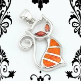 New - Cat Orange Fire Opal with Garnet Eyes Pendant with Chain in Alamogordo, New Mexico