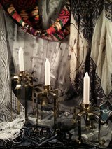 brass ribbon design candle holders/w candles in Clarksville, Tennessee