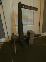 Huge antique primitive wood leg vice clamp in Houston, Texas