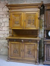 4 door Buffet with a lot of hand carvings 1880, oak in Ramstein, Germany