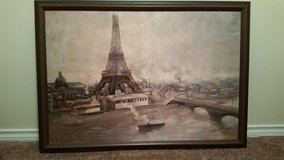 Eiffel Tower Oil Print 31x44 - Perfect Condition Solid Oak Frame in Cleveland, Texas