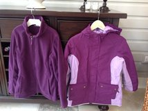 Girls Lands End Purple 3-in-1 Parka + Matching Bib Snowpants Size 10-12 in Glendale Heights, Illinois
