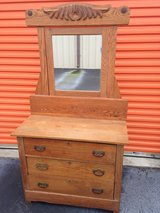 Antique Solid Oak Dresser W/ Mirror in Camp Lejeune, North Carolina