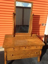 Tiger Oak Dresser W Beveled Mirror in Cherry Point, North Carolina