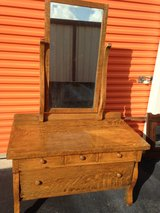 Antique  Tiger Oak Dresser W Beveled Mirror in Cherry Point, North Carolina