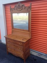 Antique Oak Dresser Heavy Carved Mirror in Cherry Point, North Carolina