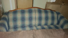Blue and tan plaid couch in Travis AFB, California