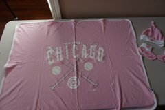 Girls Chicago Cubs Infant Blanket, Hat, and Booties in Chicago, Illinois