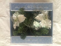 "NEW White poinsettia & frosted Pinecone 18""  New In Box (have multiple) in Chicago, Illinois"