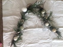 6 foot garland - white and gold, evergreen branch - christmas decoration - holiday in Chicago, Illinois
