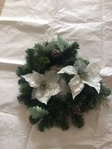 "18"" white poinsettia wreath with frosted pinecones in Chicago, Illinois"