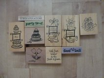 Various wooden craft stamps in Lakenheath, UK