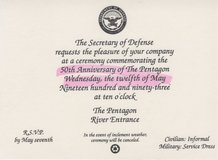 SecDef Invitation to the Pentagon 50th Anniversary Commemoration in Fort Belvoir, Virginia