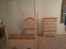 Girls 4 Poster Canopy Twin Bed & Chest Dresser in Joliet, Illinois