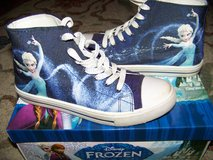 Disney Frozen high top sneaker size 6 blue multi in Joliet, Illinois