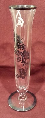 """Vintage Clear Glass Bud Vase with Silver Overlay, 6-5/8"""" Tall in 29 Palms, California"""