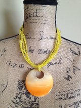 Vintage Antique yellow beads multi layer oversize O Ring necklace in Naperville, Illinois