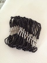 Vintage Antique multi layer black beads bracelet in Naperville, Illinois