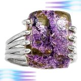 NEW - Purple and Brown Genuine Variscite In Purpurite 925 Sterling Silver Ring - Size 6 1/2 in Alamogordo, New Mexico