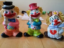 3 Vintage Clown Piggy Banks in Oswego, Illinois