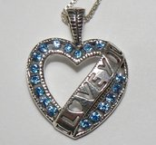 Sterling Silver Blue Stones Heart Necklace in Ramstein, Germany